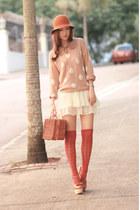 eggshell H&M sweater - bronze Chicwish bag - white natural colour skirt
