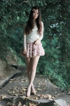 off white Rebecca Taylor stockings - eggshell Christian Louboutin shoes
