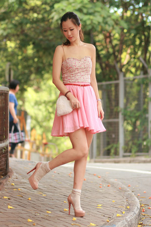 bubble gum becky bloomwoods wardrobe skirt - light pink Pull &amp; Bear intimate