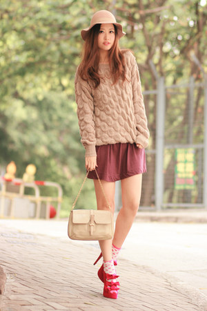 beige romwe sweater - magenta Club Couture dress - hot pink Decimal heels