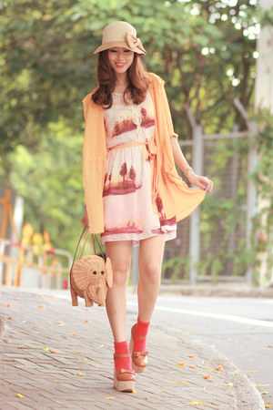 tawny Opening Ceremony heels - orange rose tatu dress