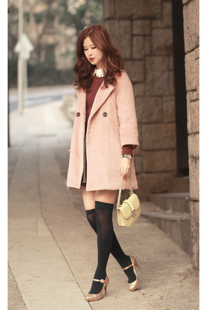 light pink Yesstyle coat - black American Apparel socks - brick red Yesstyle top