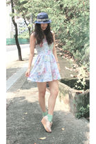 blue Uniqlo hat - blue Topshop dress - pink 8020 shoes - gold