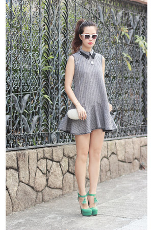 heather gray Chicwish dress - ivory Choies bag - white Kristin Perry sunglasses