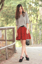 red Chicwish skirt - black kate spade bag - black Miu Miu heels