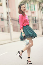 teal awwdore skirt - hot pink romwe shirt