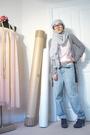 Gray-zara-cardigan-blue-borrowed-jeans-green-self-made-shorts-white-uniqlo
