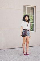teal DIY shorts - dark brown Nordstrom bag - white Zara blouse