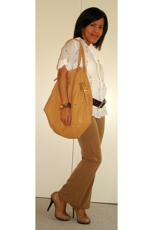 Aldo pumps - big buddha bag - Philippines pants - Zara blouse