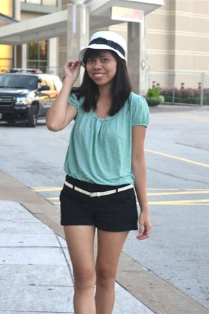 Love Culture hat - striped shirt faded glory shirt - black shorts Forever 21 sho