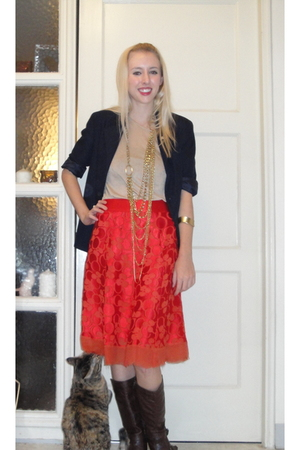 brown f21 boots - red Marc Jacobs skirt - beige unknown brand top - blue unknown