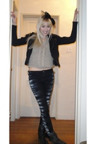 black Nasty Gal accessories - black Loy and Ford jacket - beige vintage sweater