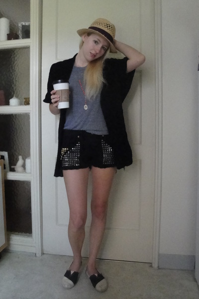 black matty m cardigan - gray American Apparel shirt - black Blank Denim shorts