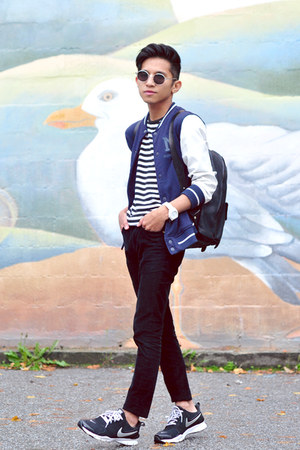 black stripe t-shirt H&M t-shirt - navy varsity Zara jacket