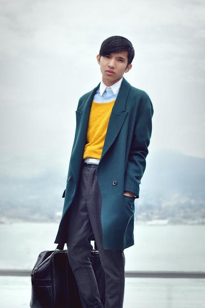 teal Zara coat - gold H&M sweater - white oxford shirt MadetailorCustom shirt