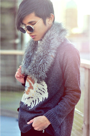 gray Zara sweater - brown round framed used sunglasses - black Zara pants
