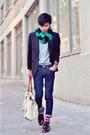 Green-stripe-scarf-zara-scarf-black-blazer-camel-h-m-bag