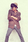 Heather-gray-zara-pants-camel-fedora-h-m-hat-ivory-zara-t-shirt