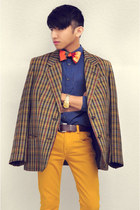 dark brown vintage blazer - mustard Zara Kids jeans - navy Zara shirt