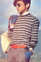 white BonLook sunglasses - heather gray Zara sweater