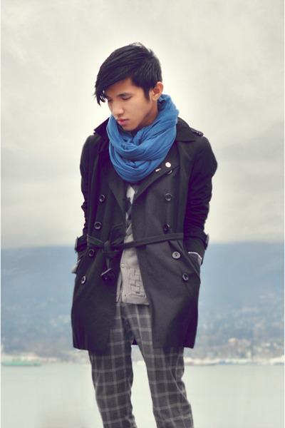 sky blue jersey scarf Zara scarf - black trench coat Forever21 coat