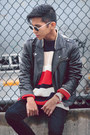 Red-knit-sweater-american-apparel-sweater-black-pleather-h-m-jacket