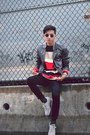 Black-pleather-h-m-jacket-red-knit-sweater-american-apparel-sweater