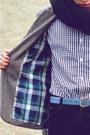 Black-knit-oak-fort-scarf-gray-tweed-blazer-zara-blazer