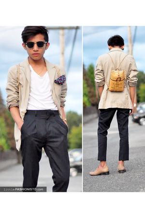 white Zara Man t-shirt - Altered Pants pants - beige Zara Kids blazer