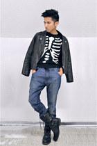 dark gray H&M sweater - black Zara boots - navy Diesel jeans - black H&M jacket