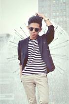 blazer - striped t-shirt Zara t-shirt - Zara pants