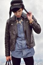 tan tribal necklace H&M necklace - black H&M jacket