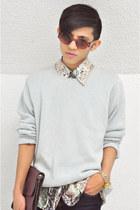light blue knit sweater vintage sweater - snake print vintage shirt