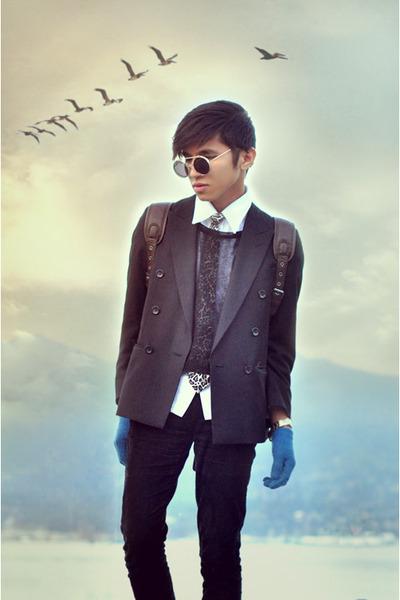 dark brown leopard tie Zara tie - black Zara jeans