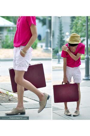 pink H&M Kids shorts - beige H&M hat