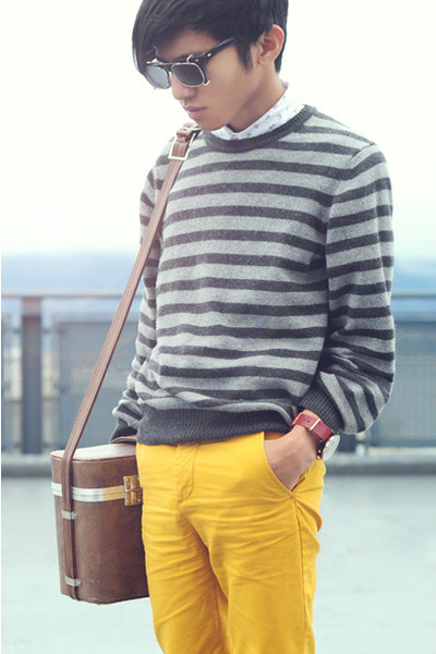 Zara sweater - Topman shirt - vintage bag - mustard pants H&M pants