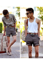 gray self-made shorts
