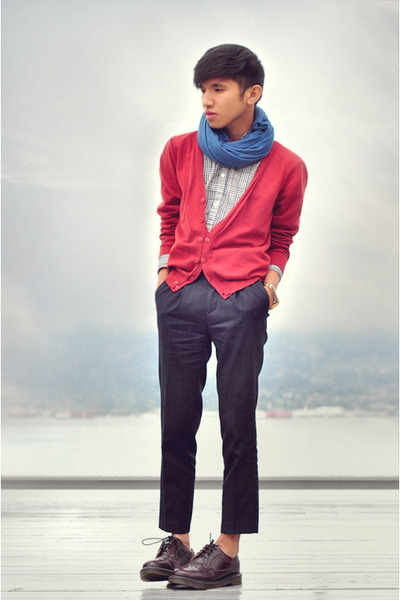 red Zara cardigan - dark brown brogues doc martens shoes