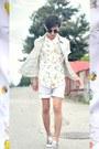 White-shorts-h-m-shorts-light-yellow-liz-claiborne-shirt