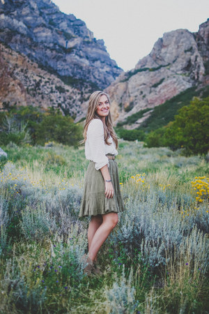 olive green Anthropologie skirt - tan suede Carlos Santana boots