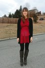 Gray-elle-boots-red-peplum-vintage-from-ebay-dress