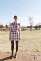 brown Forever 21 boots - light pink Macys dress