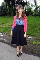 sky blue vintage bag - sky blue silk polka dot vintage blouse - black vintage sk