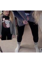 white Victorias Secret socks - black Victorias Secret leggings - black Kanye Wes