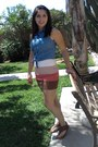 Blue-aeropostle-top-burnt-orange-forever-21-skirt-brown-oneil-sandals