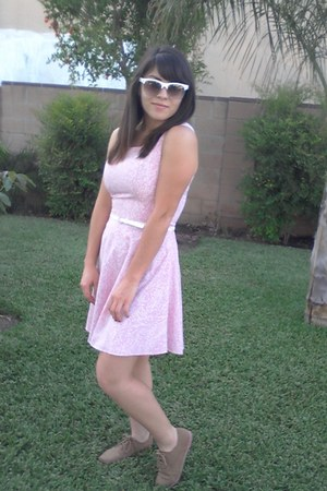 pink Forever 21 dress - tan Qupid shoes - white white rimmed CottonOn sunglasses