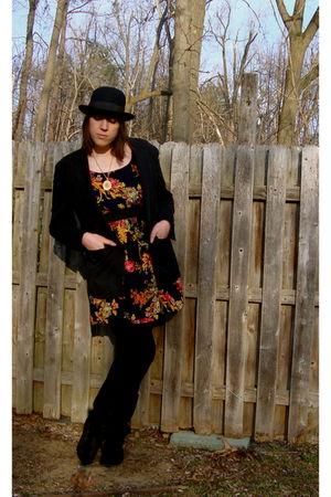 Target hat - vintage blazer - Target dress - vintage necklace