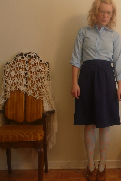 thrifted blouse - thrifted skirt - H&M tights - Jeffrey Campbell shoes