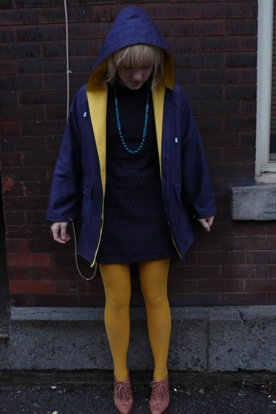 thrifted jacket - thrifted dress - thrifted new tights - thrifted shoes - thrift