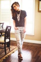 silver statement Aldo necklace - light blue boyfriend American Eagle jeans